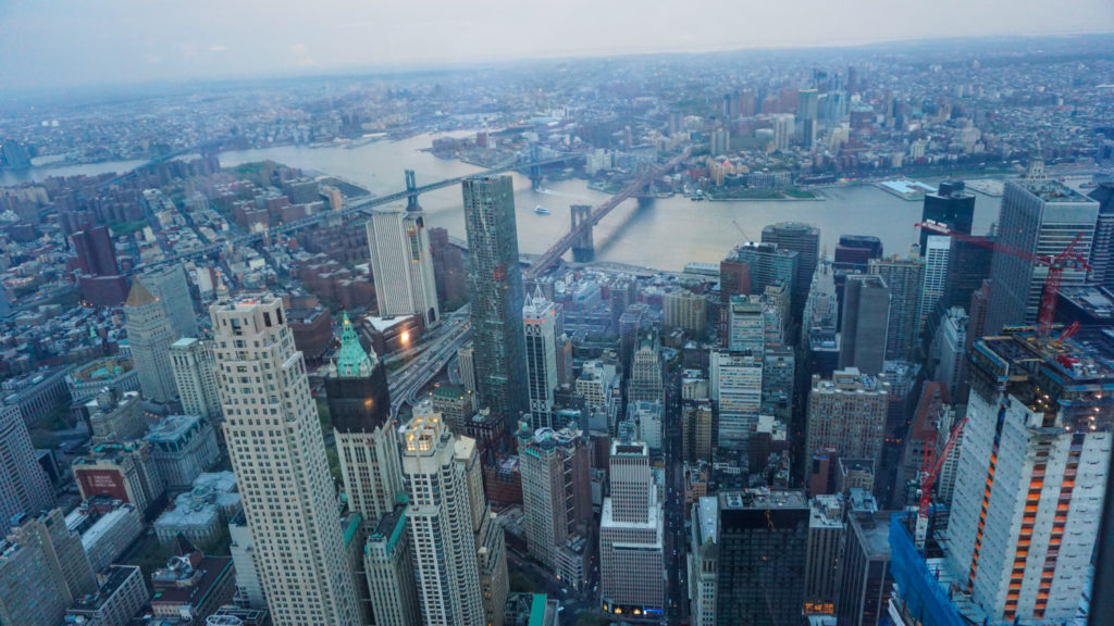 View of NY and the Hudson River from One World Trade Center