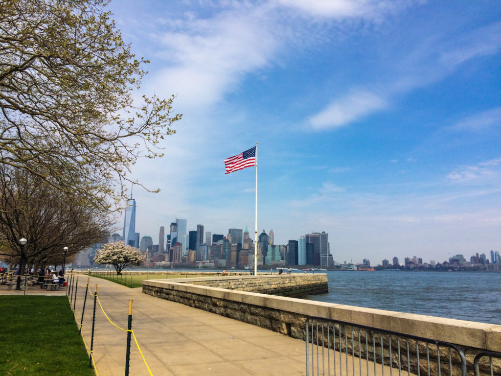 View of Manhattan's financial center from Liberty Island